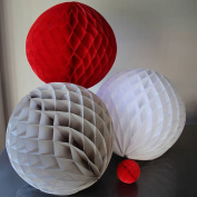 SUNBEAUTY 20cm/25cm 6pcs Mixed Sizes White Grey Red Mixed Colour Honeycomb Balls for Baby Shower Wedding Party Decoration