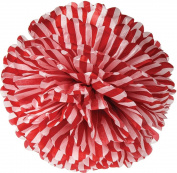 Red Striped 38cm Tissue Paper Flower Pom-Pom