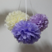 SUNBEAUTY 15cm/20cm 6pcs Mixed Sizes Cream Lavender And Purple Mixed Colour Tissue Paper Pom Poms Flower Balls Hanging Decoration Party Birthday Wedding