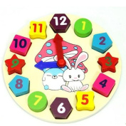 Wooden Baby Children Digital Geometry Clock Early Educational Toy Matching Game