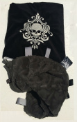 Damask Skull ~ Black & Grey Cuddle Blanket with Ribbon Tabs