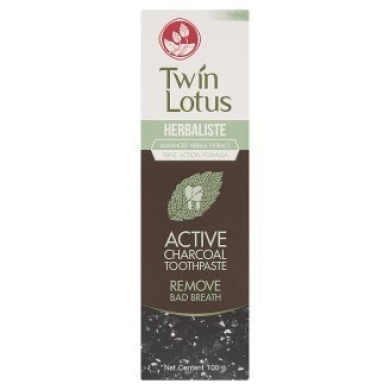 Twin Lotus Active Charcoal Toothpaste Herbaliste Triple Action 100g (100ml) X 1 Tube