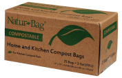 (Pack of 3) Natur-Bag Small Food Waste Compostable Bags - 11.4l, 25 Bags