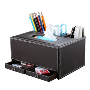 KINGFOM™ Creative Tissue Box Holder with 3 Compartments Holder and 2 Small Drawer, Multi-function PU leather Tissue Box Cover Desk Organiser