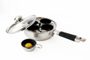 4 Cup 18/10 Stainless Steel Egg Poacher With Silicone Grip