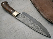 RK-118, Handmade Damascus Steel Chef Knife - Solid Wallnut Wood Handle with Brass Bolsters