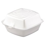 Dart Hinged Food Container, Foam, 1-Comp, 5 1/2 x 5 3/8 x 2 7/8, White - 400 containers.