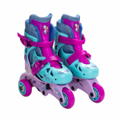 Disney Frozen Adjustable 2-in-1 Convertible Glitter Trainer Skates/Rollerblades w/ Wrist Guards