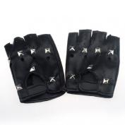 Doinshop Square Nail Half-finger Leather Gloves Theatrical Punk Pu Black
