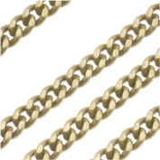 Antiqued Brass 3.6mm Flattened Curb Chain - Bulk By The Foot