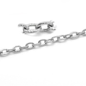 "Valyria 10M Silver Tone Stainless Steel Textured Cable Link-Opened Chain 4.5x3mm(1/8""x1/8"""