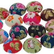 Colourful Fabric Covered Button Flat Back Cabochon for Hair Pin Makings-50pcs/lot