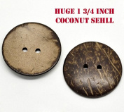 Awesome Large Coconut Shell Buttons (15 pcs) with Beautiful Natural Coconut Designs 44mm (1 3/4 Inch) Includes Exclusive Shizaru Designs Gift Bag