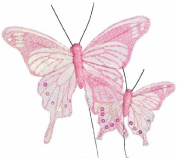 Sheer Pastel Pink Iridescent Glitter Butterflies in 2 Assorted Sizes - Package of 12