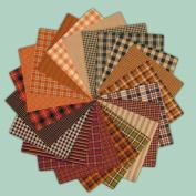 40 Warm Autumn Spice Charm Pack, 15cm Precut Cotton Homespun Fabric Squares by Jubilee Creative Studio