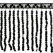 15cm Black Sequin Fringe Trims for clothing, costumes, Home Deco, Lamp Shade, 1 yard, TR-10369