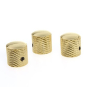Andoer 3PCS Gilded Metal Dome Knobs Knurled Barrel for Electric Guitar Parts Gold