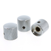 Andoer 3PCS Chromed Metal Dome Knobs Knurled Barrel for Electric Guitar Parts Silver