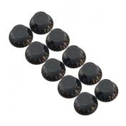 10pcs Black ABS Top Hat Guitar Speed Bell Knob Volume Tone Control Knob 6mm