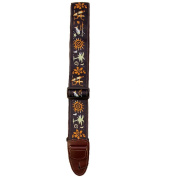 Master Strap Guitar Strap - Hawaiian Surfer - Brown Leather Ends with Built In Pick Pocket