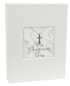 Stephan Baby Inspirational Keepsake Mini Photo Album with Silver Cross, My Christening Day