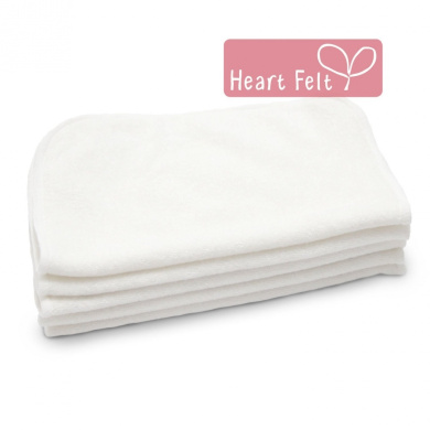 Heart Felt 100% Bamboo Cloth Natural Baby Wipes - 5 Extra-large Reusable Wipes for Wipes, Wash Cloths and Dribble Bibs. Versatile, Soft and Gentle on Baby's Skin.