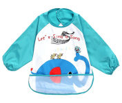 Cute Cartoon Waterproof Sleeved Bib Baby Smock Baby Bibs Elephant, 0-3 Years