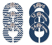 #C189 Elephant Navy Boy Baby Closet Dividers Clothes Organisers Set of 6