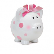 Child to Cherish Large Pig White with Polka Dot Toy Bank, Pink