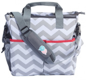 Bula Baby - Stylish Chevron Nappy Tote Organiser Bag - With 12 Pockets to Keep Everything Secure