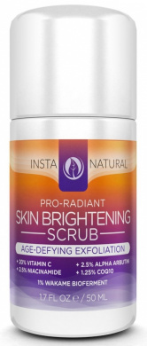 InstaNatural Skin Brightening & Anti-Ageing Facial Scrub - Face Exfoliator for Men & Women - With Vitamin C 20%, Hyaluronic Acid, Niacinamide & COQ10 - 50ml