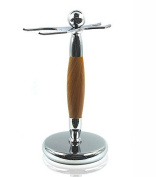 Spitalfields Shaving Company *Premium Grade* Brush and Razor Stand - Millwall 37 - Chrome with Faux Beechwood