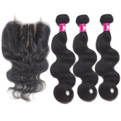 Forawme Brazilian Virgin Hair 4pcs Lot Body Wave 14 16 18 With 25cm 3 Ways Part Lace Closure With Bundles Unprocessed Human Hair Weave Extension Brazilian Body Wave