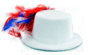 Red White & Blue Feather Hats - USA 4th of July Patriotic Independence Day Mini Hat Fascinator - Multiple Colours