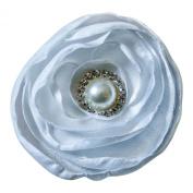 White Satin Flower Rhinestone Pearl Hair Clip Wedding Hair Clip Bridal Hair Clip Bridesmaid Hair Clip First Communion Hairpiece Girls Hair Clip