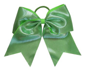 """New """"Sparkle Dots Neon Green"""" Cheer Bow Pony Tail 7.6cm Ribbon Girls Hair Bows Cheerleading Dance Practise Football Games Competition Birthday"""