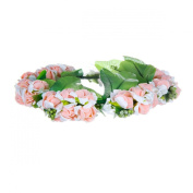 Easy Lifestyles Flower Wreath Headband Floral Crown Garland Halo with Floral Wrist Band for Wedding Festivals Pink