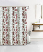 Bathroom Set Waffle Fabric Shower Curtain with 12 Silver Rollerball Hooks