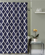 Geometric Patterned Shower Curtain 180cm By 180cm - Navy