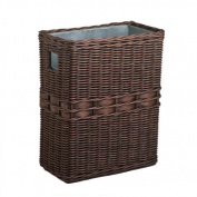 The Basket Lady Large Wicker Waste Basket with Metal Liner One Size (size 0) Antique Walnut Brown