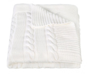 Arus Luxury Cotton Cable Knit Throw Blanket, Cream