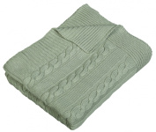 Arus Luxury Cotton Cable Knit Throw Blanket, Sage