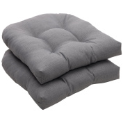 Pillow Perfect Indoor/Outdoor Grey Textured Solid Wicker Seat Cushions, 2-Pack