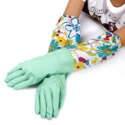 UZZO™Long Sleeve Flower latex Kitchen Wash Dishes Dishwashing Gloves,Water Resistant Rubber Gloves,Household Laundry housework Cleaning Gloves Protect Your Hands With 1Free UZZO Logo Keyring