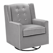 Baby Relax Emmett Button Tufted Upholstered Swivel Glider, Graphite Grey