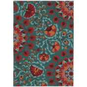 Nourison Suzani (SUZ02) Teal Rectangle Area Rug, 1.5mes by 2.1mes