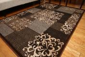 Feraghan/New City feraghan4031brown_2x4 Contemporary Modern Flowers Wool Area Rug, 0.6m x 0.9m, Brown/Beige