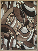 Generations pre8005_3rnd Brand New Contemporary Modern Square and Circles Area Rug, 1.2m Round, Brown/Beige