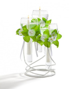 3 Light Glass Floating Candle Holder With White Metal Stand