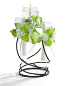3 Light Glass Floating Candle Holder With Black Metal Stand